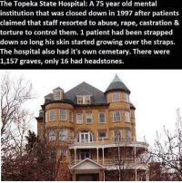 Institutionalized: The Topeka State Hospital: A 75 year old mental  institution that was closed down in 1997 after patients  claimed that staff resorted to abuse, rape, castration &  torture to control them. 1 patient had been strapped  down so long his skin started growing over the straps.  The hospital also had it's own cemetary. There were  1,157 graves, only 16 had headstones.