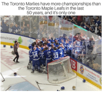 Gratz on the Game 7 W @torontomarlies: The Toronto Marlies have more championships than  the Toronto Maple Leafs in the last  50 years, and it's only one  @nhl ref_logic  environmental Gratz on the Game 7 W @torontomarlies