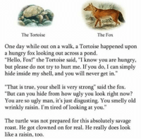 "me🐢irl: The Tortoise  The Fox  One day while out on a walk, a Tortoise happened upon  a hungry fox looking out across a pond.  ""Hello, Fox!"" the Tortoise said, ""I know you are hungry  but please do not try to hurt me. If you do, I can simply  hide inside my shell, and you will never get in.""  95  ""That is true, your shell is very strong"" said the fox.  ""But can you hide from how ugly you look right now?  You are so ugly man, it's just disgusting. You smelly old  wrinkly raisin. I'm tired of looking at you.""  The turtle was not prepared for this absolutely savage  roast. He got clowned on for real. He really does look  like a raisin, too. me🐢irl"