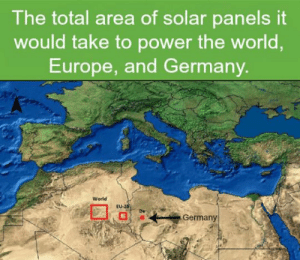 Tumblr, Blog, and Europe: The total area of solar panels it  would take to power the world,  Europe, and Germany.  World  EU-25  Germany lolzandtrollz:  Why Are We Not Funding This Yet?