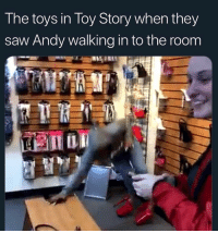 Friends, Memes, and Saw: The toys in Toy Story when they  saw Andy walking in to the room Dawg lmfaoo 💀 →DM & TAG this to 15 friends for a shoutout😂