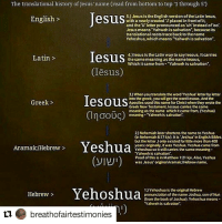 "Memes, Michael Brown, and Scholar: The translational history ofJesus name (read from bottom to top 1 through 5)  5.) Jesus is the English version of the Latin lesus,  English  with a newly created placed in frontofit  and the U letter pronounced as uh instead of oo  Jesus means Yahweh issalvation because its  translational roots traceback to thename  Yehoshua, which means Yahweh is salvation"".  Desus  4.)lesusis the Latin way to saylesous. It carries  Latin  thesame meaning asthe namelesous,  Which it came from Yahweh is salvation"".  esuS  3) When you translate the wordYeshua Wetterby letter  Iesous  into the greek you get the wordlesous.Andthe  Greek  Apostles used this name for Christ when they virote the  Greek New Testament. Iesous carries the 5ame  meaning as the name which it came from, Yeshua)  m OOUC meaning Yahwehis salvation  2)Nehemiahlater shortens the name to Yeshua  (in Nehemiah 8:17 kM).It is Jeshua in English Bibles  but the lettet J only existed for little more than 400  Yeshua  years originaly, was Yeshua.Yeshua came from  Aramaic/Hebrew  Yehoshua soitst carries the same meaning  Yahwe his salvation.  (VIHUI)  Proof of this is in Matthew 121 kv.Also, Yeshua  vas Jesus original Hebrew name.  1)Yehoshua is the original Hebrew  Yehoshua  Hebrew  pronunciation of the name Joshua, son of Nun  (from the book of Joshua). Yehoshua means  Yahweh is saNation.  tu breathofairtestimonies Repost @breathofairtestimonies with @repostapp ・・・ 🔑🔑🔑🔑🔑🔑 Repost @natedavis17 ・・・ 5 common myths regarding The name Jesus Christ ➖➖➖➖➖➖➖➖➖➖➖➖➖➖ 1.) ""Jesus means Hail Zeus!"". This argument holds no water and is usually proclaimed by people who probably saw a meme on IG or a blog and didn't look into it. For one ""Hail Zeus"" in Greek is Χαλαζι Ζεύς (chalasi Zeus) and Greek names end in S when they have a nominative case ending (when a name stands alone or is the subject of a verb). For example Peters Hebrew name was ""Kepha"" but in Greek it was ""Kephas"" (Gal 2:14). Likewise it was the same with Toma 👉🏻 Thomas (the disciple that doubted Jesus). We're either of these names giving honor to the god Zeus? Of course not, otherwise you would have to say that all Greek males names ending in s were in honor of Zeus and that's just not logical. This argument has been virtually panned by a considerably high amount of linguistic scholars both Christian and Atheist as indefensible (Dr. Michael Brown). ➖➖➖➖➖➖➖➖➖➖➖➖➖➖ 2). ""The name Jesus Christ was created at the council of Nicaea"". The council of Nicaea was convened to address the heresy known as Arianism (the belief that Jesus was not God) that was being propagated by a man named arius. The council had NOTHING to do with the name. Again when you see this you need to ask the person saying this why the council was convened in the first place. The name Jesus Christ (Iesous Christos) did not have its origin in the 4th century but actually 2 centuries before Christ's birth in the Septuagint (LXX) which was the first Greek translation of the Jewish Tanakh (OT) when Joshua (Yehoshua-Yeshua) was transliterated into Ιησούς (Iesous) (more on that in a bit). ➖➖➖➖➖➖➖➖➖➖➖➖➖"