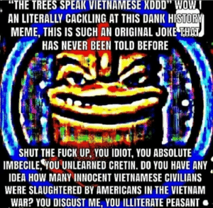 """Haha funny Vietnam: """"THE TREES SPEAK VIETNAMESE XDDD"""" WOW I  AN LITERALLY CACKLING AT THIS DANK HISTORY  MEME, THIS IS SUCH AN ORIGINAL JOKE THAT  HAS NEVER BEEN TOLD BEFORE  SHUT THE FUCK UP, YOU IDIOT, YOU ABSOLUTE  IMBECILE,YOU UNLEARNED CRETIN. DO YOU HAVE ANY  IDEA HOW MANY INNOCENT VIETNAMESE CIVILIANS  WERE SLAUGHTERED BY AMERICANS IN THE VIETNAM  WAR? YOU DISGUST ME, YOU ILLITERATE PEASANT Haha funny Vietnam"""