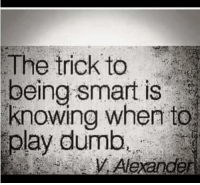 Play Dumb: The trick to  being smart is  knowing when to  play dumb  Alexander