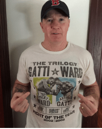 """Very cool. The legend, """"Irish"""" Micky Ward, wearing our T paying tribute his iconic trilogy with Gatti. Ward was one of the toughest, most heart-driven fighters ever. Micky is now on IG. Make sure you give him a follow @irishmickyward It's an honor to work with Micky and revisit his historic trilogy with Arturo Gatti. IrishMickyWard ThunderGatti KnowYourRoots Check out the photo featured on this shirt taken by the brilliant @muls96 then have a look at his page and see the ridiculous body of work he has amassed. He has captured everything!! 🙏🏼 Ed!: THE TRILOGY  GATTI WARn  ARD THUNDER  2002  OF THE T  2002 12 Very cool. The legend, """"Irish"""" Micky Ward, wearing our T paying tribute his iconic trilogy with Gatti. Ward was one of the toughest, most heart-driven fighters ever. Micky is now on IG. Make sure you give him a follow @irishmickyward It's an honor to work with Micky and revisit his historic trilogy with Arturo Gatti. IrishMickyWard ThunderGatti KnowYourRoots Check out the photo featured on this shirt taken by the brilliant @muls96 then have a look at his page and see the ridiculous body of work he has amassed. He has captured everything!! 🙏🏼 Ed!"""