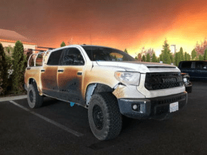 California, Who, and This: The truck of Nurse Allyn Pierce who drove this truck through the flames of California to save lives.