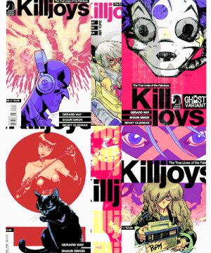 True, Tumblr, and Blog: The True Lves ofhe FbuoLs  CERARD WAY  SHAUN SIMON  BECKKY CLOONAN  oys  GERARD WAY  CKY CLOONAN  Killjoy  The True Lives of the Fab  GERARD WAY  SHAUN SIMON seelenfreundd:  Danger Days Variant Covers