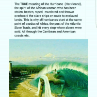 Hurricane: The TRUE meaning of the Hurricane (Her-ricane),  the spirit of the African woman who has been  stolen, beaten, raped, murdered and thrown  overboard the slave ships en route to enslaved  lands. This is why all hurricanes start at the same  point of exodus of Africa, the post of the Atlantic  Slave Trade, and hit every stop where slaves were  sold. All through the Carribean and American  coasts etc