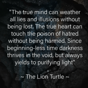"""Hands down, one of the best quotes ever. Just made the graphic.: """"The true mind can weather  all lies and illusions without  being lost. The true heart can  touch the poison of hatred  without being harmed. Since  beginning-less time darkness  thrives in the void, but always  yields to purifying light""""  The Lion Turtle Hands down, one of the best quotes ever. Just made the graphic."""