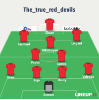 The true red devils  footballsil  Iatan  Lingard  Rashford  Mkhitaryan  Pogba  Carrick  Valencia  Shaw  Bailly  Rojo  LINEUP  Romero Starting lineup to Face Anderletch. Michael Carrick captains the side. Ashley Young,De Gea,Rooney,Blind and Martial are on the bench.