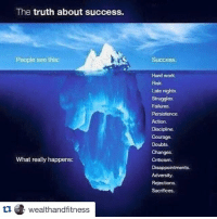 @wealthandfitness 👈💯 CEO of DYE . What lies beneath.: The truth about success.  People see this:  What really happens:  tu wealthand fitness  Success.  Hard work.  Late nights.  Struggles.  Failures.  Persistence  Discipline.  Courage.  Doubts.  Changes.  Criticism.  Disappointments.  Adversity.  Rejections  Sacrifices. @wealthandfitness 👈💯 CEO of DYE . What lies beneath.