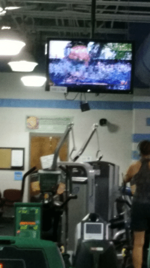 Gym, Time, and Today: The TV at the gym is having a hard time today