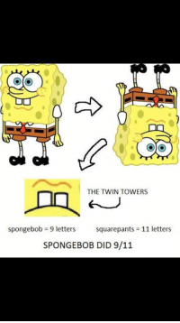 9/11: THE TWIN TOWERS  spongebob = 9 letters  squarepants = 11 letters  SPONGEBOB DID 9/11
