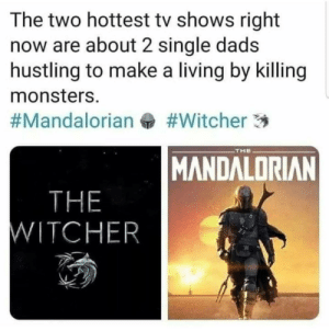 mandalorian: The two hottest tv shows right  now are about 2 single dads  hustling to make a living by killing  monsters.  #Witcher 3  #Mandalorian  THE  MANDALORIAN  THE  WITCHER