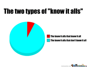 "Meme, Com, and Mame: The two types of ""know it alls""  The know it alls that know itall  The know it alls that don't know it all  memecenter.com Mame Centerae Know It Alls by zarocious - Meme Center"