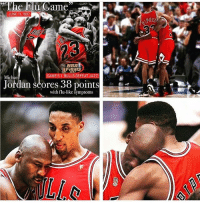 when MJ flew WITH the flu. nbafinals @nba: The  u Game  JUNE 11, 1997  GAME 5 BULLS DEFEAT JAZZ  Michael  Jordan scores 38 points  with flu-like symptoms when MJ flew WITH the flu. nbafinals @nba