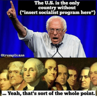 """Insertions: The U.S. is the only  country without  (""""insert socialist program here""""  @trumplicans'  Yeah, that's sort of the whole point."""