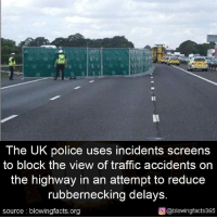 Police, Traffic, and The View: The UK police uses incidents screens  to block the view of traffic accidents on  the highway in an attempt to reduce  rubbernecking delays  source blowingfacts.org  o @blowingfacts365