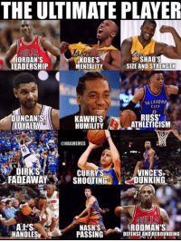 This would be scary.: THE ULTIMATE PLAYER  JORDAN'S  LEADERSHIP  KOBE'S  MENTALITY  SHAQ'S  SIZE AND STRENGTH  KLAHOM  CITY  RUSS  DUNCAN'S  LOYALTY  KAWHI'S  HUMILITY-EA-JUHLETICISM  @NBAMEMES  VINCE'S.  FADEAWAYSHOOTINGDUNKING  DIRK'S  CURRYS  STOWS  RODMAN'S  HANDLES  NASH'S  PASSINGDEFENSE AND REBOUNDING This would be scary.