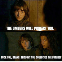 Memes, Bran, and 🤖: THE UMBERS WILL PROTECT YOU.  FUCK YOU, BRAN! I THOUGHT YOU COULD SEE THE FUTURE? Umbers traitors!