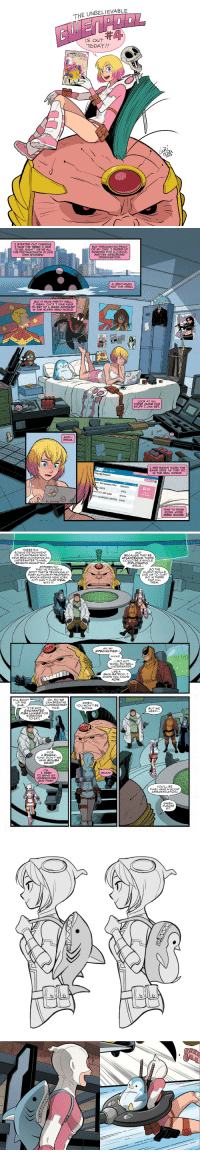gurihiru: THE UNBELIEVABLE GWENPOOL#4 is out today !  Written by Christopher Hastings, art by Gurihiru. She has shark and penguin backpack. : THE UNBELIEVABLE  IS OUT  TODAY!!   STARTED OuT THINKING  WAS THE HERO. HAD  TO BE, RIGHT? WE'RE ALL  THE PROTAGONISTS IN OUR  OWN STORIES  BUT THROUGH NO FAULT  F MY OWN. I ENDED UP  WORKING FOR M.O.D.O.K.  AND HIS MERCENARY  ORGANIZATION  A HENCHMAN  NOT THE HERO  BUT IT PAYS PRETTY WELL!  MEAN, ONCE  WAS ABLE  TO SET UP A BANK ACCOUNT  IN THE SUPER HERO WORLD  LOOK AT ALL  THESE GUNS AND  STuFF CAN GET  AND--  WHOA  SEE BANKS WORK THE  HERE AS THEY DO  ARVL BAN  SAN THE REAL WORLD.  Checking Account  2M BIG RONNIES CSTM $500000.00  $0.09  S LUNGIS  62SNOT JUST GUNS  $2000  Bank Eauro  NOTHNG BUT SWORDS  $14000  TIME TO EARN  SOME MORE  MERC BUCKS   THERE'S A  ROGUE DETACHMENT  OF ATLANTEANS WHO  HAVE BEGUN DIGGING AN  AND  BECAUSE THEY'RE  ATLANTEANS, THERE  CoULD BEA WHOLE  DIPLOMATIC  ISSUE...  BENEATH MANHATTANN  APPARENTLY  THEY VE PICKED A  SPOT THAT'S TECHNICALLY  PORT A THORITY PROPERTY  WHICH MEANS NEW YORK  CITY CAN'T JUST DEAL  WITH IT  SO THE  CLIENT WOULD  GO IN THERE  AND KILL  THEM.  AH, MY  SPECIALTIES-  (KICKS)  --DO NOT  UNDERWATER  凵SE A  WORK SO WELL  KNOW YoU KNOW  HOW  I'LL BOOT  uP THE  SUB  OH, SO WE  CAN BREATHE  NDERWATER?  NICE.  GWEN  I'VE GOT  ENCHANTED  FISH LUNGS FOR  EVERYONE  TO EAT  GOING  BUT WE  NEED  ...FOR  A SNACK,  TONY. DON'T WE  HAVE SOUBA  GEAR?  OH  エNEED  TO GRAB MY  UNDERWATER  GUN FIRST  WHAT?  YOU'LL BE  FINE! HAVE A GOOD  ASSASSINATION  GWEN  PLEASE  SIT gurihiru: THE UNBELIEVABLE GWENPOOL#4 is out today !  Written by Christopher Hastings, art by Gurihiru. She has shark and penguin backpack.