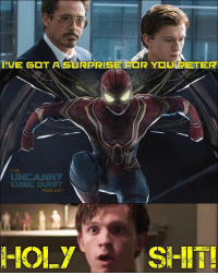 Ironic, Memes, and Shit: THE  UNCANNY  POOCAST  HOLY SHIT! Imagine if THIS was Peter's suit upgrade. Not sure if people hated on the suit because it didn't have the classic Iron Spider color scheme of red & gold or the spider legs not being shown but who's to say those legs don't come out of the suit? Remember, Stark built it. The legs might be a deployment type of device that can be utilized on command. Artwork by: @bosslogic . . . spiderman spidermanhomecoming peterparker marvel marvelcomics tomholland robertdowneyjr ironman captainamerica doctorstrange thor thorragnarok hulk thanos avengers avengersinfinitywar sandiegocomiccon comiccon2017 comicon scarletwitch blackwidow blackorder loki chrishemsworth benedictcumberbatch stanlee daredevil lukecage punisher