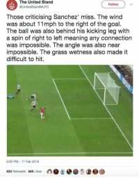 Soccer, Goal, and Meaning: The United Stand  @UnitedStandMUFC  Follow  Those criticising Sanchez' miss. The wind  was about 11mph to the right of the goal  The ball was also behind his kicking leg with  a spin of right to left meaning any connection  was impossible. The angle was also near  impossible. The grass wetness also made it  difficult to hit  5:02 PM- 11 Feb 2018  633 Retweets 569 Likes The wind was 11 mph... 😂 https://t.co/GTpggLsP0z