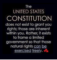 GOOD SATURDAY MY FRIENDS!!!: The  UNITED STATES  CONSTITUTION  does not exist to grant you  rights; those are inherent  within you. Rather, it exists  to frame a limited  government so that those  natural rights can be  exercised freely GOOD SATURDAY MY FRIENDS!!!