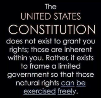 Some people forget that: The  UNITED STATES  CONSTITUTION  does not exist to grant you  rights; those are inherent  within you. Rather, it exists  to frame a limited  government so that those  natural rights can be  exercised freely. Some people forget that