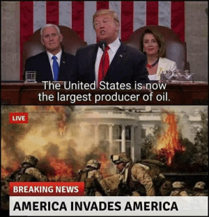 America, Dank, and Memes: The United States is now  the largest producer of oil  LIVE  BREAKING NEWS  AMERICA INVADES AMERICA Sorry i dont speak oil by maut-ka-nanga-nach MORE MEMES