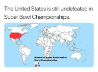 Football, Nfl, and Super Bowl: The United States is still undefeated in  Super Bowi Championships.  Number of Super Bowl Football  World Championships  0  52