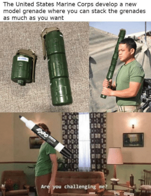The true master of stack: The United States Marine Corps develop a new  model grenade where you can stack the grenades  as much as you want  Namm  SAPO  Cyeae S  Are you challenging me? The true master of stack