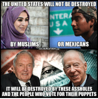 You know it's true..  Follow us for more: Murica Today: THE UNITED STATES WILL NOT BE DESTROYED  NTER  OR MEXICANS  BY MUSLIMS  www.MURICATODAY COM  TWILL BEDESTROYEDBY THESE ASSHOLES  AND THE PEOPLE WHO VOTE FOR THEIR PUPPETS You know it's true..  Follow us for more: Murica Today