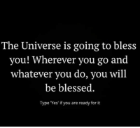 Blessed, Memes, and Music: The Universe is going to bless  you! Wherever you go and  whatever you do, you will  be blessed  Type Yes' if you are ready for it ❤️. . . . . . . music mindfulness empowerment spiritualawakening consciousness higherself selfdevelopment universe thesecret lawofattraction successmindset nlppractitioner vibratehigher 1111 loveyourself focus thoughtprocess foodforthought quotestoliveby relationshipquotes mindset goodvibesonly amen quotesaboutlife spiritualdevelopment selflove dharma ascension