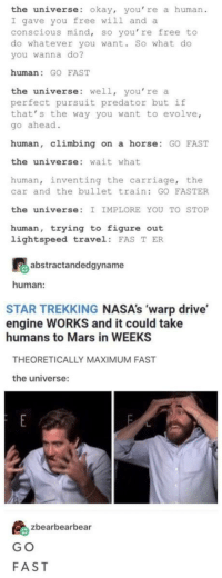 "<p>G O F A S T via /r/memes <a href=""https://ift.tt/2sTaC93"">https://ift.tt/2sTaC93</a></p>: the universe: okay, you' re a human  I gave you free will and a  conscious mind, so you're free to  do whatever you want. So what do  you wanna do?  human: GO FAST  the universe: well, you're a  perfect pursuit predator but if  that' s the way you want to evolve,  go ahead.  human, climbing on a horse GO FAST  the universe: wait what  human, inventing the carriage, the  car and the bullet train: GO FASTER  the universe: I IMPLORE YOU TO STOP  human, trying to figure out  lightspeed travel FAS T ER  abstractandedgyname  human:  STAR TREKKING NASA's 'warp drive  engine WORKS and it could take  humans to Mars in WEEKS  THEORETICALLY MAXIMUM FAST  the universe:  島zbearbearbea  G O  FAST <p>G O F A S T via /r/memes <a href=""https://ift.tt/2sTaC93"">https://ift.tt/2sTaC93</a></p>"