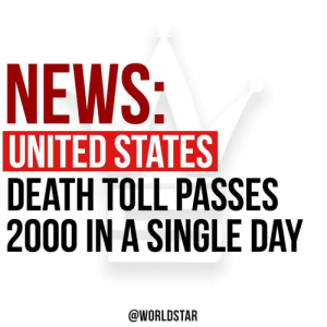 The US has become the first country in the world to record more than 2,000 #coronavirus deaths in a single day. Our thoughts and prayers are with the victims and their families. 🙏 @bbcnews https://t.co/oGbPRjX9vV: The US has become the first country in the world to record more than 2,000 #coronavirus deaths in a single day. Our thoughts and prayers are with the victims and their families. 🙏 @bbcnews https://t.co/oGbPRjX9vV
