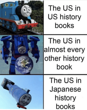 Merica: The US in  US history  books  The US in  almost every  |other history  book  The US in  Japanese  history  books Merica
