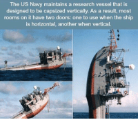 https://t.co/UYRMmlWdER: The US Navy maintains a research vessel that is  designed to be capsized vertically. As a result, most  rooms on it have two doors: one to use when the ship  is horizontal, another when vertical. https://t.co/UYRMmlWdER