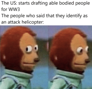 You know you'll be first on the list: The US: starts drafting able bodied people  for WW3  The people who said that they identify as  an attack helicopter:  otonetork You know you'll be first on the list