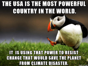 This causes me great grief.: THE USA IS THE MOST POWERFUL  COUNTRY IN THE WORLD.  IT IS USING THAT POWER TO RESIST  CHANGE THAT WOULD SAVE THE PLANET  FROM CLIMATE DISASTER.  made on imgur This causes me great grief.