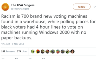 Racism, Windows, and Black: The USA Singers  @TheUSASingers  Followv  Racism is 700 brand new voting machines  found in a warehouse, while polling places for  black voters had 4 hour lines to vote on  machines running Windows 2000 with no  paper backups.  4:41 AM-9 Nov 2018  183 Retweets 274 Likes