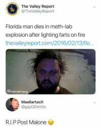 RIP @postmalone: The Valley Report  @TheValleyReport  Florida man dies in meth-lab  explosion after lighting farts on fire  thevalleyreport.com/2016/02/13/flo  mememana  Maellartach  @gayDDeVito  Excuse tne scars and ane  R.I.P Post Malone RIP @postmalone