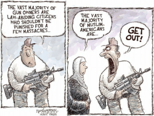 Abiding: THE VAST MAJORITY OF  GUN OWNERS ARE  LAW-ABIDING CITIZENS  WHO SHOULDN'T BE  PUNISHED FOR A  FEW MASSACRES...  a  e 一一  ㄧㄧ ㄧ-  THE VAST  MAJORITY  OF MUSLIM  AMERICANS  ARE  GET  OUT!