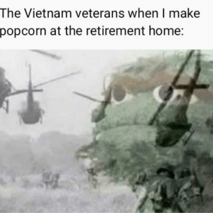 They're in the trees: The Vietnam veterans when l make  popcorn at the retirement home: They're in the trees