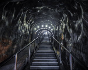 The View, Romania, and Film: The view from near the entrance of this salt mine in Turda, Romania looks like something straight out of a Guillermo del Toro film. (OC)