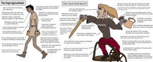 """The virgin agriculturalist vs the chad pastorialist: The Virgin Agricultralist  THE CHAD PASTORALIST  Teaches his superior technology and culture to Finno-Ugrics  and Altaics out of genuine good will - he has nothing to fear  Is the supreme cuckold - killed or enslaved  by foreign invaders and his women taken  for breeding  Also gives away shitty frozen wastelands to said Finno-Ugrics and Altaics  to give them a sense of accomplishment, while retaining the best lands  for himself and his kin  Warm eyes that are too friendly  and welcoming  Cold eyes that strike fear  into swarthy manlets  Ideal high calorie diet consisting purely of meat  and dairy - carries food around with him for protein  boosts during battle  Matriarchal society, too weak and  feminised to run society like a man  Paternal line is extincted as a result,  Patriarchal society, is the  maker of his own destiny  the same can be said for most of his  farming brethren  Basically a baby in adult form,  literally worships an """"Earth Mother""""  Worships the Sky Father who  brings him victory in battle  Formed the ruling class  of literally every ancient  civilisation  Poor posture from  planting crops  Pathetically small jaw caused,  by a grain-based diet  Conquered peoples see him  as a god due to his fair skin  Weak body in general  due to a poor and  limited agricultural diet  *MER!  Kills or enslaves foreigners and  takes their women for breeding  Powerful, masculine jaw  retained through a  Dark skin darkened further by spending  all day tending to the field  Copies bronze metallugry  from the farmers, but utilises  it effectively by  revolutionising military  technology and  combat  meat-based diet  Turned the entirety of the Caucasus  Mountains into his personal cumdump  Buried in a communal grave where  he becomes indistinguishable from  his compatriots - probably isn't  buried with any grave goods either  Poorly made, drab clothing - this is  the extent of his personal belongings  Strong body condit"""