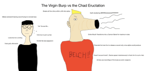 Bad, True, and Virgin: The Virgin Burp  the Chad Eructation  vs  Breaks all fine china within a 69 mile radius  Earth-shattering BRRRRAAAAAAAPPPPPPP  Makes awkward heaving sound trying to conceal burp  *Hic Excuse Me...  Entire Mouth Transforms into a Cannon Barrel for maximum noise  Farts due to pent up Gas  Looks like he's vomiting  Smells like bad pepperoni  Feels guilty afterwards  Channels his inner lion to release a sound only a true alpha could produce  BELCH!!  Doesn't excuse himself...Stacies appear instantaneously to thank him for such a feat  Armies use recordings of his burps as sonic weapons  / Q The Virgin Burp vs the Chad Eructation