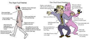 The Virgin Foot Fetishist vs The CHAD Hand Fetishist: The Virgin Foot Fetishist  The Chad Hand Fetishist  Drinks a warm glass of  GThots are so blown  away by him that  they end their thottery  Ik and does 20 minutes of  Watches 2 hours of foot pomstretches before going to bed  before going to bed  e  Discovered fetish  from some wierd pom  Has to pay thots to let  him touch their feet  Takes care of Stray Cats  Uses incognito mode  to hide his fetish  Doesn't have to ask  to touch a woman's hand  Doesn't even have a  girtfriend anymore  Will kill people to hide  his fetish  Great relationship with  wife and son  Afraid he'll be the  laughingstock of  the Morioh Medical  Center  Only girlfriend he ever had  dissapeared without a trace  probably ran from him because  he was a total virgin  Discovered fetish from  seeing the Mona Lisa,  Verv Classy  Father fully  supports him  Sleep anywhere from 3-8  hours due to his inconsistent  ambulance driving job  Gets atleast 8 hours of sleep  every night  Bonds with father  over archerV The Virgin Foot Fetishist vs The CHAD Hand Fetishist