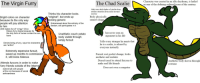 """furry: The Virgin Furry  The Chad Scalie  Character was created in an idle daydream, is hailed  as one of the defining cultural icons of the century  Only uses dark shades of similar hues,  attracts attention from miles around  anyway  Ihinks his character looks  """"original"""", but ends up  looking generic  Body physically  cannot cringe  Bright colors on character  because its the only way  people will pay attention  to him  (Still makes fun of """"cringy"""" oCs)  Embarassed about the entirety of the  fandom, still participates in it  Enjoys furry drama because its  the only form of human contact he can  have  has never seen an  argument in his life  Unathletic couch potato  body visible through  lumpy fursuit  Tells every stranger he meets that  he is a scalie, is adored 1b  everyone instantly  Denies being a furry, says his characters  are """"anthro""""  Extremely expensive fursuit,  saved up months to commission  it, still looks hideous  Fursuit cost pocket change, looks  aesthetic and realistic  Attends furcons in order to make  furry friends outside of the Interne  Doesn't need to attend furcons to  make real life friends  Aesthetic body shown through  costume  Does not own a computer  doesnt talk with people  at the con because of social  awkwardness"""
