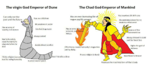 This will trigger some people. Sorry in advance.: The virgin God Emperor of Dune  The Chad God-Emperor of Mankind  Has countless 20 18 9 sons  Has an ever-increasing list of  Can only see the  past and the future  has no children  wague psychic powegrs  His weakness is love Has no  weakness whatsoever  His weakness is water  Has an army of  scantily clad women  Has an army of heavily  armored, post-humay  Glorfied Drug-dealer  Source of the  Astronomican  MALES  Always naked  Always dressed in Gold  and the tinest furs  Had to forcefully  cause humanity to  stagnate before he  died  Avoids Direct Conflict  Fights the god of  violence  Effortlessly caused humanity's stagnation  just by dying.  Knows religion is dumb  Best friend is Wizard  Thinks religion is a usefbl  tool for ruling humanity  Best Friend is a clone  Is a man-worm hybrid  Possesses the most Holy form of Man's body This will trigger some people. Sorry in advance.